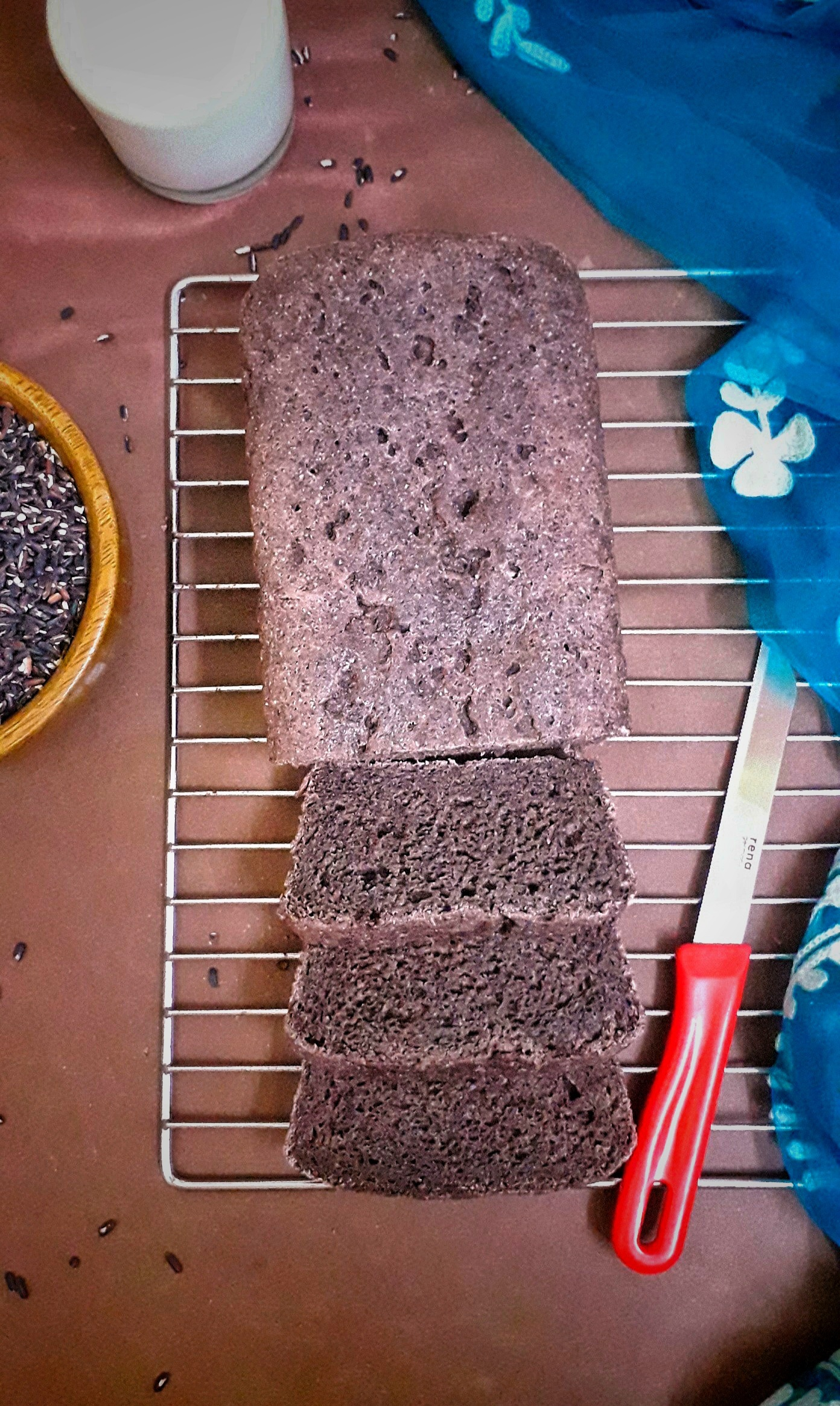 Black Rice Loaf / Vegan Bread With Whole Wheat And Black Rice