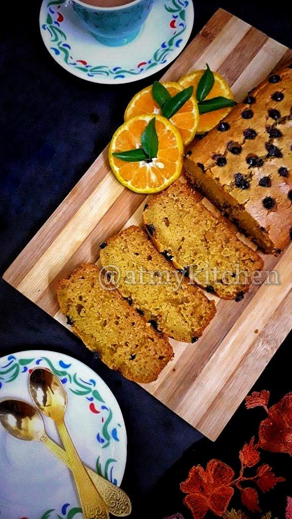 Whole Wheat Orange Cake / Moist Orange Cake / Eggless Jaggery Orange Cake