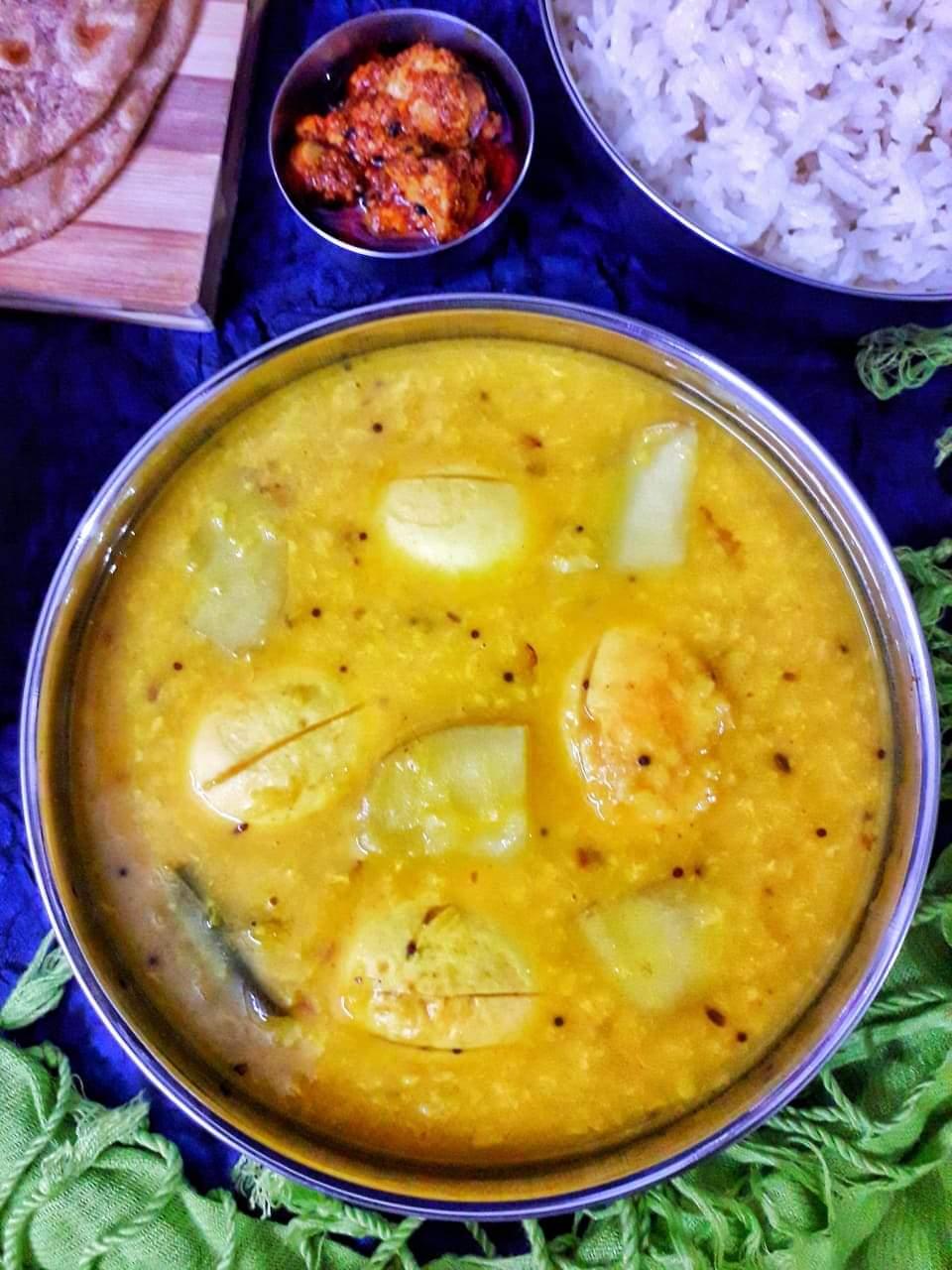 Mixed Dal With Egg And Potato / Anda Aloo Dal Tadka / Mixed Lentil Fry